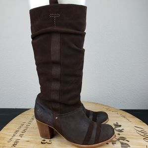Fly London tall chocolate suede boots with heel